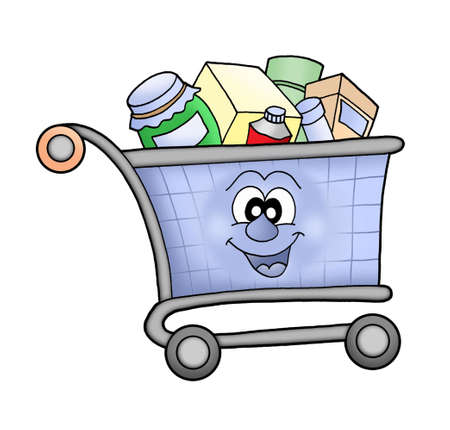 transport of goods: Happy shopping cart - color illustration.