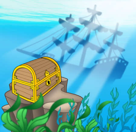 Treasure chest with shipwreck - color illustration. illustration