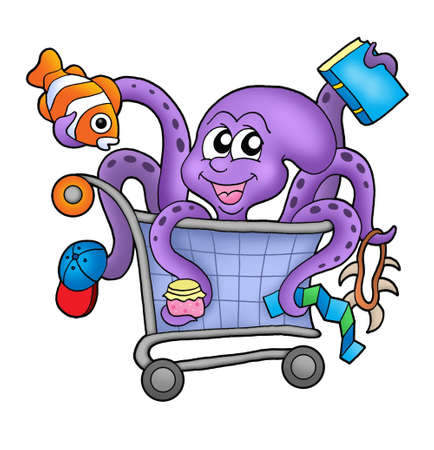 cart cash: Octopus and shopping cart - color illustration.