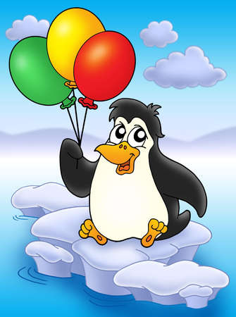 floe: Penguin with balloons on iceberg - color illustration.