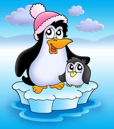 Two penguins on iceberg - color illustration. Stock Illustration - 3267217