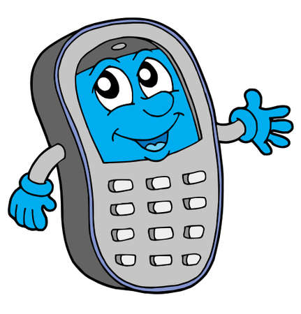 tel: Grey cell phone with blue display - vector illustration.