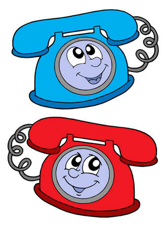 Cute blue and red telephone - vector illustration. Stock Vector - 3295599