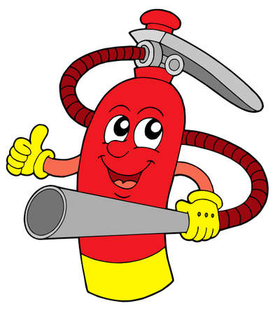 Red extinguisher with face - vector illustration. Vector