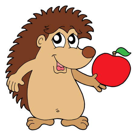 Hedgehog with apple - vector illustration. Stock Vector - 3295601