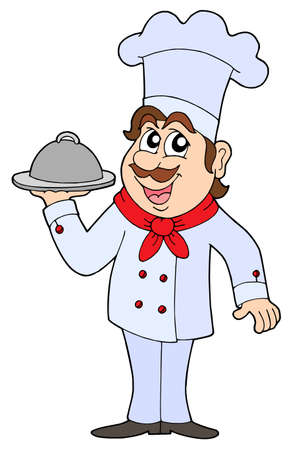 healt: Chef holding tray with food - vector illustration.