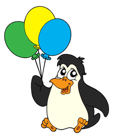 restful: Penguins with balloon - vector illustration.
