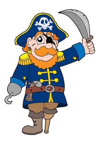 piratenhoed: Piraat met sabel - vector illustratie. Stock Illustratie