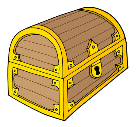 Wooden treasure chest with lock - vector illustration. Illustration