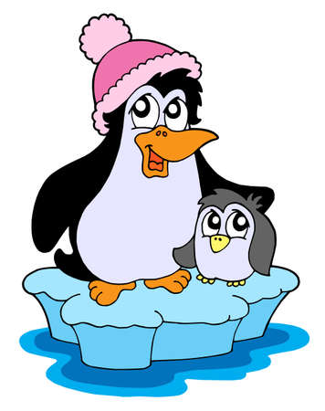 Two penguins on iceberg - vector illustration. Illustration