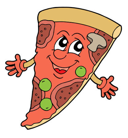 pizza dough: Pizza with smiling face - vector illustration. Illustration