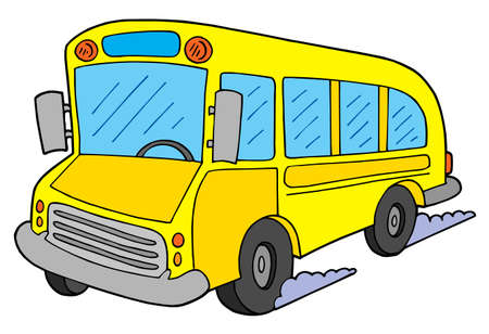 people traveling: Yellow school bus - vector illustration.