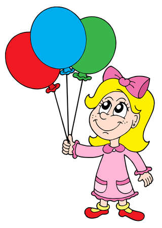 balon: Small girl with balloons - vector illustration.
