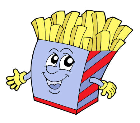 Pommes frites in box with smiling face - vector illustration.