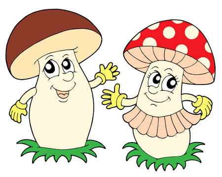 Mushroom en paddestoel - vector illustration.