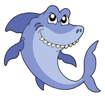 tiburones: Sonriente tibur�n en fondo blanco - ilustraci�n vectorial.