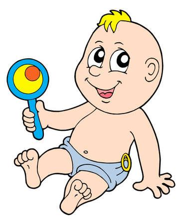 rammelaar: Baby met rammelaar - vectorillustratie.