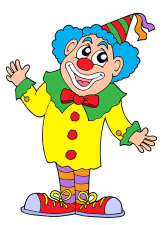 cartoon clown: Clown in colorful outfit - vector illustration. Illustration