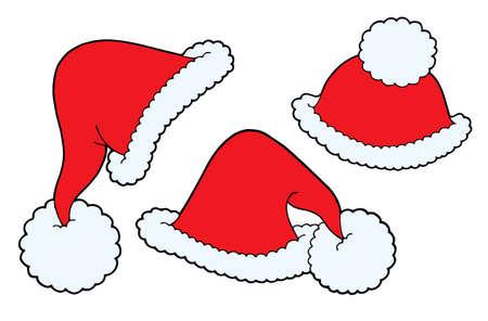 Various Christmas caps - vector illustration. Vector