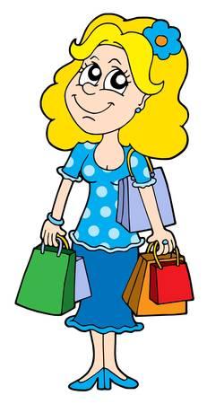 Blond shopping girl - vector illustration. Vector