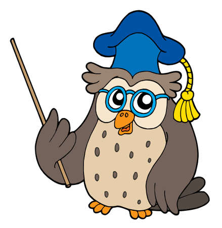 narrate: Owl teacher with pointer - vector illustration.