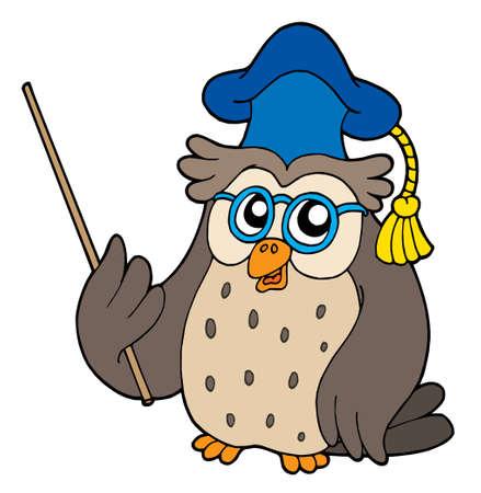 Owl teacher with pointer - vector illustration.