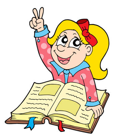 Pupil with book - vector illustration. Illustration