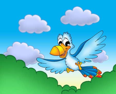 parrot flying: Flying blue parrot - color illustration.