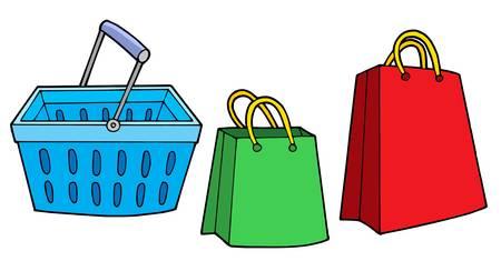 dealing: Shopping basket and bags - vector illustration. Illustration