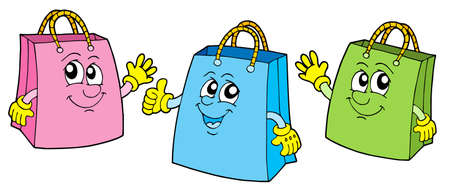 carry bag: Smiling shopping bags - vector illustration.