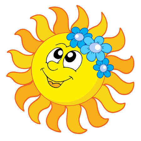 Smiling Sun with flowers - vector illustration.