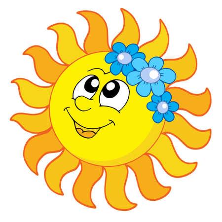 soleil souriant: Sourire Sun avec des fleurs - illustration vectorielle.