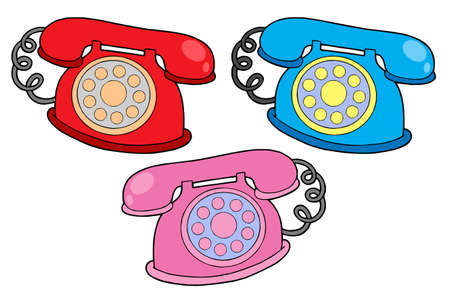 telephones: Various colors telephones - vector illustration.