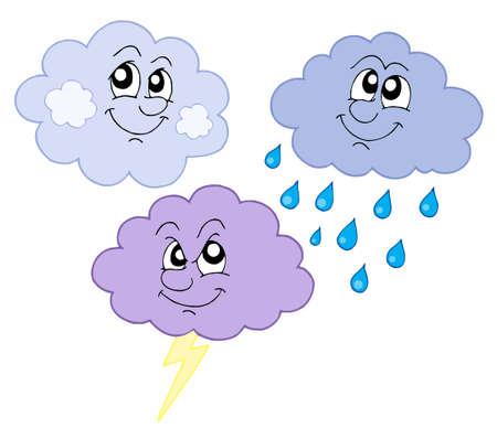 다양 한 귀여운 구름 - 벡터 일러스트 레이 션입니다.