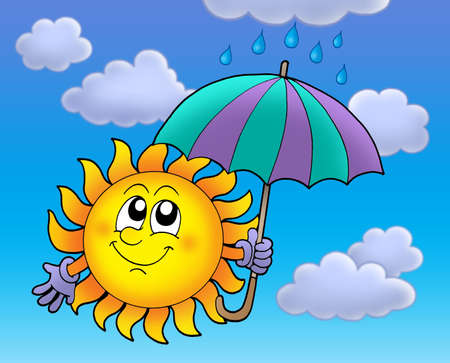 umbrela: Sun with umbrella on cloudy sky - color illustration. Stock Photo