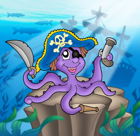 shipwreck: Pirate octopus with shipwreck - color illustration. Stock Photo