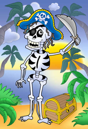 sabre: Pirate skeleton with sabre and treasure - color illustration.
