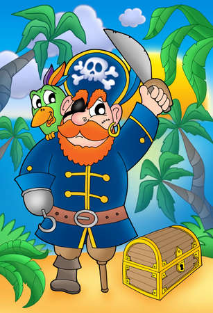 Pirate with parrot and treasure chest - color illustration. illustration