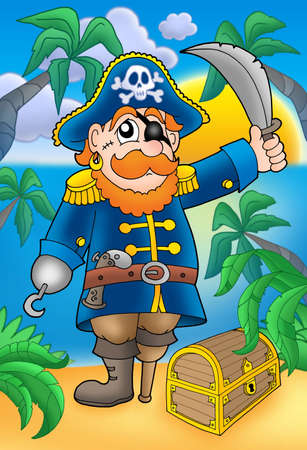 sabre: Pirate with sabre and treasure chest - color illustration.