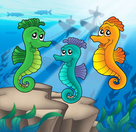 shipwreck: Sea horses family with shipwreck - color illustration.
