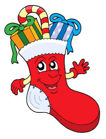 lazo de regalo: Cute calcet�n con regalos de Navidad - ilustraci�n vectorial.