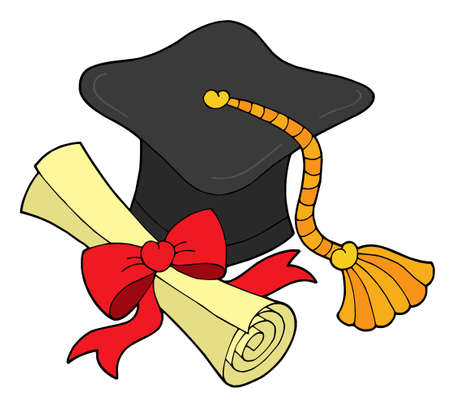 doctoral: Graduation hat and scroll - vector illustration.
