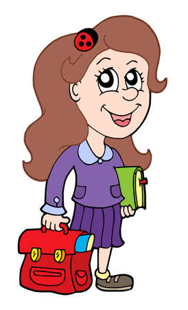 Pupil with school bag - vector illustration. Stock Vector - 3350371