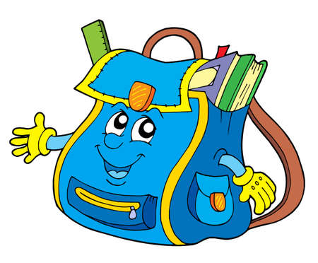 pocket book: School bag on white background - vector illustration. Illustration
