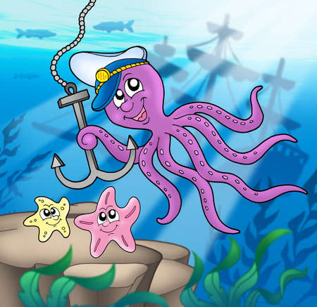 Octopus with anchor and starfishes - color illustration. Stock Illustration - 3350368