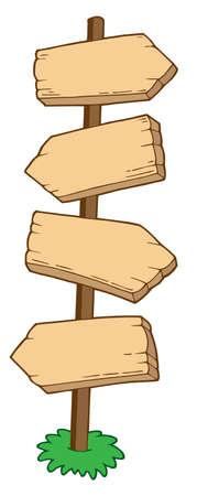 guia turistica: Se�alando de madera signos - ilustraci�n vectorial.