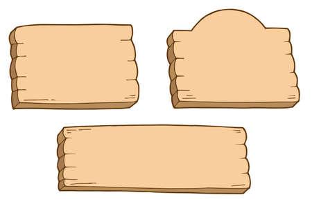 Trois panneaux en bois - illustration vectorielle.