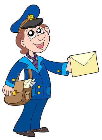 paper delivery person: Cute postman with letter - vector illustration.