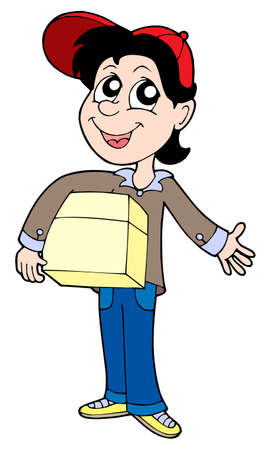Delivery boy with box 2 - vector illustration. Stock Vector - 3350400