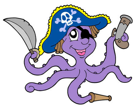 Pirate octopus with sabre - vector illustration.